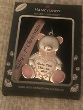 HARVEY LEWIS BABY GIRLS FIRST CHRISTMAS ORNAMENT 2014 NEW SWAROVSKI crystals