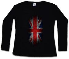VINTAGE UK UNION JACK FLAG WOMEN LONG SLEEVE T-SHIRT England Great Britain Royal