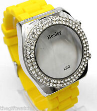 Henley Ladies Mirror Dial Digital LED Crystals Watch  & Yellow Silicone Strap