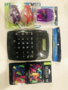 8-Digit Large Jumbo Calculator Big Button, Pencil Topper Erasers & More Lot