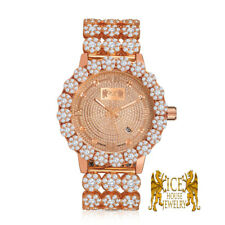 Real Diamond Rose Gold Custom Roman Flower Ice House Men's Luxury Watch W/Date