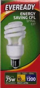 3 x 20W = 75W Edison Screw ES E27 CFL Energy Saving Spiral Light Bulb Warm White