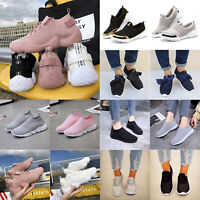 New Women Causal Breathable Sneaker Slip On Lace Up Sport Outdoor Gym Sock Shoes