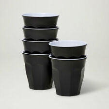 Barel Designs Classic Black Melamine Tumblers 260mL - Set of 6 Picnic Cups