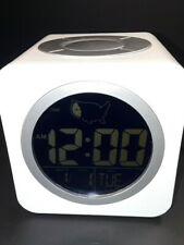 Intertek Cube Led Alarm Clock White Adjustable Time Zones Small Travel Size