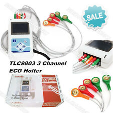 USA Stock,3 Channels ECG Holter 24Hours Dynamic EKG Recorder Free Software USB