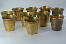 Vintage Middle Eastern Brass Etched Tea Cups Mid Century