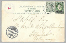 St Helena Deadwood POW Censored to Germany 1902 mixed franking with surcharge