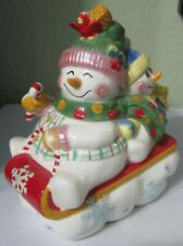 Fitz & Floyd Frosty Friends Lidded Box 19/2141 Trinket Box Snowman Sled Winter