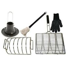 Vision Grills Smoking Accessory Kit -Grill Basket, Rib Rack, Roaster, Mop, Glove