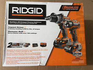Ridgid R9205 Brushless 18V Drill Driver / Impact Driver Kit 18V NEW FREE SHIP