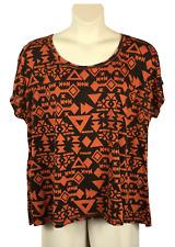 fcb5ea2b3cb Womens Cato Dipped Hem Blouse Plus Size 26 28W Multi-Color Poly Rayon