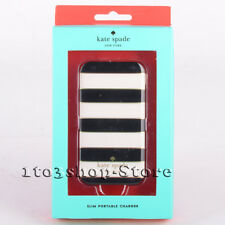 kate spade Slim Power Bank Charger 1800 mAh Candy Stripe Black Cream Gold NEW
