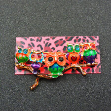 Johnson Animal Charm Brooch Pin Gift Colorful Enamel Crystal Cute Owl Betsey