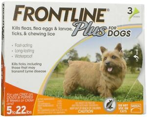 Frontline Plus Flea and Tick Treatment for Small Dogs (5-22lbs) - 3 Doses