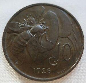 ITALY 10 centesimi 1926 R UNC Honey Bee Vittorio Emmanuele #A84