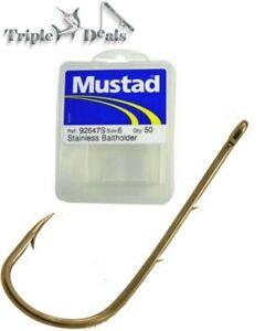 1 Box of Mustad 92647S Stainless Steel Long Shank Baitholder Fishing Hooks