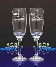 Personalised Engraved Mr Mrs Flutes. Wedding champagne glasses set of 2 /18