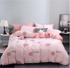 Strawberry Pink Bedding Set Duvet Quilt Cover+Sheet+Pillow Case Four-Piece New