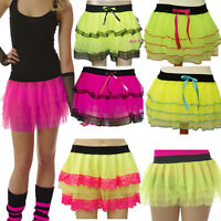 NEON CHIFFON TUTU SKIRT  80'S FANCY DRESS PARTY  SIZE 8-12 PINK YELLOW WOMENS