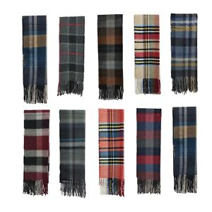 Coloured Check and Block Pattern Tassel Scarf Cashmere Blend Man Smart Scarf UK