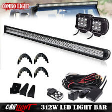 "54"" 312W LED Light Bar Combo Beam + Mount Bracket For Silverado 07~13 Chevy GMC"