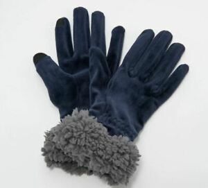 A344608 Cuddl Duds Double Plush Velour Gloves w/ Faux Sherpa Cuff Navy HOLE