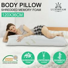 BAMBOO Body Pillow Memory Foam Full Large Natural Maternity Pregnancy Support