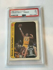 1986 Fleer Sticker  #1 Kareem Abdul-Jabbar Lakers HOF PSA 5 EX