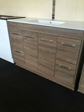 Bathroom Vanity 1200mm Ceramic Slim Thin Top Walnut Woodgrain Finish