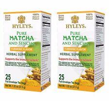 2 Hyleys Japanese Pure Matcha Tea with Ceylon Sencha, Turmeric Flavor 25 Teabags