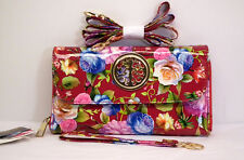 Red Floral Mini Crossbody / Wristlet Wallet Holds Smartphone & Organizer NWTs