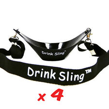 THE ORIGINAL DRINK SLING HANDS FREE BLACK WINE GLASS HOLDER SET OF 4