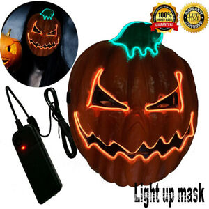 LED Light Scary Pumpkin Mask Costume EDC Halloween Party Novelties Glow Orange