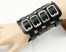 4 STRAP BLACK LEATHER WRISTBAND WRIST STRAP BAND FOUR GOTH STEAMPUNK PUNK A120