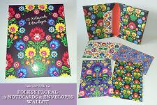 """12 FOLKSY Floral 5x7"""" tarjetas en blanco y 10 nota de carpeta Cartera De Regalo Env decorado que"""