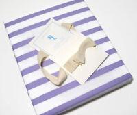 Pottery Barn Kids Cotton Lavender White Breton Stripe Twin Duvet Cover New