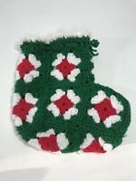 Vintage Knit Christmas Stocking Sock Small Red Green White Holiday Home Decor