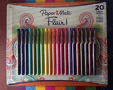 Paper Mate Flair Medium Point Guard Felt Tip Pen No Bleed Assorted Colors 20 Pk