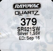 New SEIKO or RAYOVAC watch battery 379 SR521SW silver oxide button cell