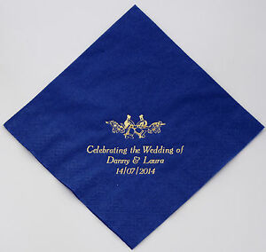 100 Napkins Choice of 9 colours 3 lines + Motif Personalised for your Wedding