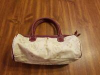 Victoria Secret Purple Leather w/ White Canvas Small Duffel Bag style VS  print