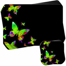 Green Rainbow Splash Butterflies Set of 4 Placemats and Coasters