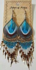 Spirit Of Nature Blue Thread Seed Bead Dangle Handmade Hook Earrings No Stone