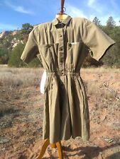 Vintage IDEAS Safari Green Romper, Sz MEDIUM, Retro 80s Jumpsuit, Army Olive