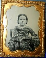 1/9th Size Tintype of Young girl in Brass mat/frame