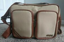 Vintage Coastar Camera Bag Beige/Tan Nylon and Brown Leather S-3TN