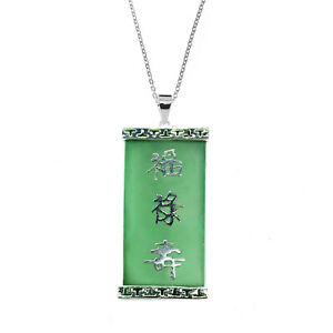 """Green Jade Silver Oblong Pendant on an 18"""" chain. Pendant size 30mm"""