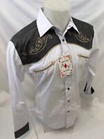 Men RODEO WESTERN COUNTRY WHITE GRAY PAISLEY Woven SNAP UP Shirt Cowboy 06615