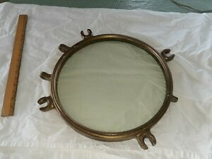 """ANTIQUE  HEAVY GLASS AND BRASS  PORTHOLE ,23LBS 15""""across"""